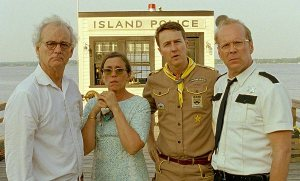 L-R: Billy Murray, Frances McDormand, Eddie Norton and Bruce Willis in Moonrise Kingdom