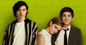 L-R: Ezra Kramer, Emma Watson and Logan Lerman in The Perks of Being a Wallflower.